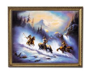 Indian Eagle Snow Warrior On Horse Wall Picture Gold Framed Art Print
