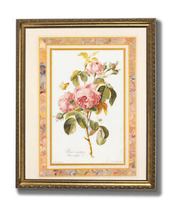Pink Roses Butterfly Flower Floral Wall Picture Gold Framed Art Print