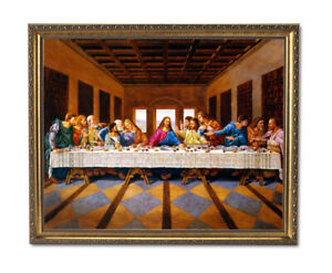 Jesus Christ The Last Supper Religious Wall Picture Gold Framed Art Print $64.97