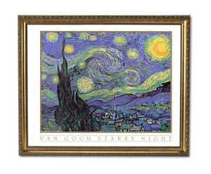 Vincent Van Gogh Starry Night Wall Picture Gold Framed Art Print $64.97