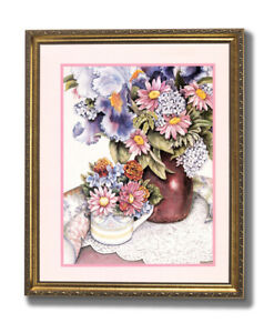 Country Flowers Watercolor Wall Picture Gold Framed Art Print