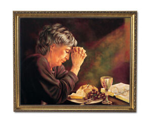 Daily Bread Woman Praying at Table Grace Religious Gold Framed Art Print