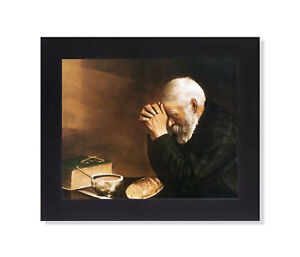 Daily Bread Man Praying at Table Grace Religious Wall Picture Black Framed $27.97