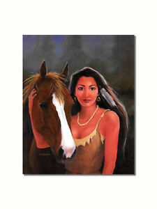 Native American Indian Woman with Horse Wall Picture 8x10 Art Print