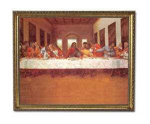 Black African American Last Supper Religious Wall Picture Gold Framed Art Print