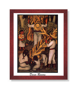 Diego Rivera Corn Harvest Contemporary Wall Picture Cherry Framed Art Print