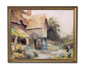 Country Cottage Tuscan Floral Landscape Wall Picture Gold Framed Art Print
