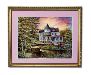 Victorian House Flowers Bridge Contemporary Wall Picture Gold Framed Art Print