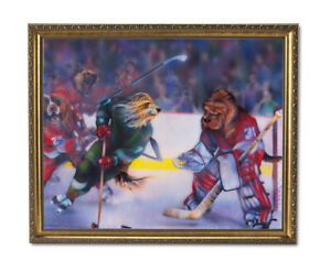 Dogs Playing Hockey Wall Picture Gold Framed Art Print $64.97