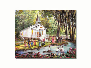 African American Black Baptism by Church Christian Wall Picture 8x10 Art Print $8.87