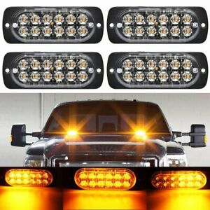4PCS 12 STROBE LED AMBER HAZARD BEACON EMERGENCY FLASHING SIDE MARKER LIGHT BARS