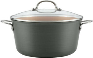 10 Qt. Stock Pot Nonstick Hard Anodized Aluminum with Glass Lid Oven Safe Gray