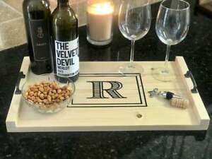 Serving Tray Wooden Monogrammed Server Tray