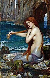 A Mermaid by John Waterhouse. Fantasy Repro Made in U.S.A Giclee Prints $22.95