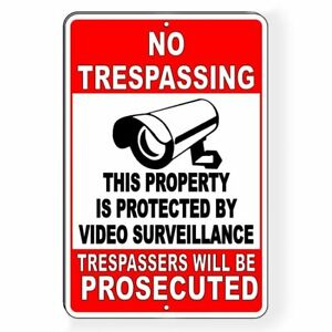 Property Protected Video Surveillance Security Camera   Metal Sign Decal 6 Sizes