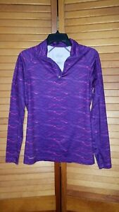 Womens Nike Pro Combat Dri-Fit Purple Fitted Running Top 1/4 Zip  MED