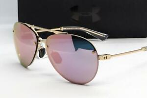 NEW UNDER ARMOUR DOUBLE DOWN SUNGLASSES UA Rose Gold frame  Pink Mirror lens