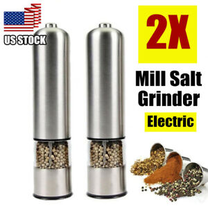 2Pcs Automatic Electric Pepper Salt Spices Grinder Stainless Steel Kitchen Tool