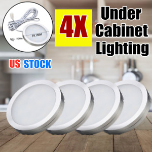 4X Under Cabinet Lighting LED Light Puck Bulb Kitchen Counter Truck Cool White