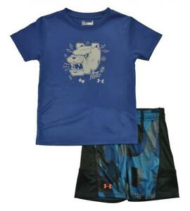 Under Armour Toddler Boys SS Blue Dry Fit Top 2pc Short Set Size 4T
