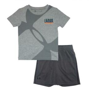 Under Armour Toddler Boys SS Gray Dry Fit Top 2pc Short Set Size 2T