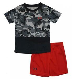 Under Armour Toddler Boys Black SS Camouflage Top 2pc Short Set Size 2T