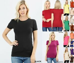 Women Basic SHORT SLEEVE CREW NECK T Shirt Cotton Stretch Long Top Fitted Tunic