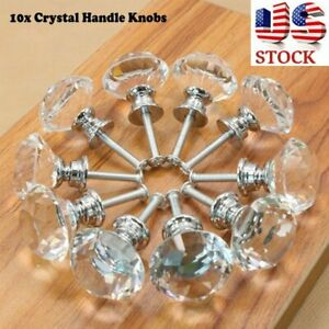 10pcs Crystal Glass Cabinet Knobs Wardrobe Drawer Cupboard Pull Handle Knob Home