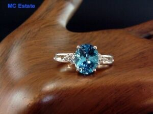 Fantastic Estate 14k White Gold Natural 3.5 Ct Natural Blue Topaz