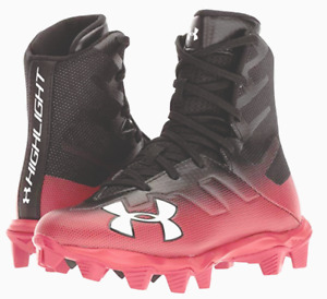 Kids Under Armour Football Cleat Shoe New Red and Black Youth Cleats Football
