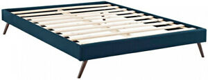 13 in. Platform Bed w/ 10-Wood Support Slats and Round Splayed Leg, Queen, Blue