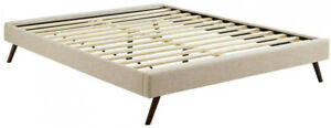 13 in. Platform Bed w/ 10-Wood Support Slats and Round Splayed Leg, Queen, Beige