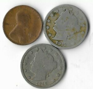 Rare 100 Year Old 1912D&P Liberty Nickel Penny Collection Coin Antique Lot:Q70