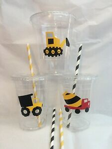Construction Party Cups Set of 12 WITH Lids Straws Birthday