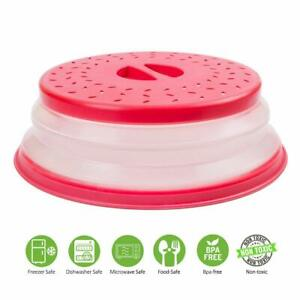 DINY Silicone Folding Collapsible Microwave Cover Splatter Screen Red USA Seller