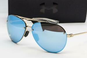 NEW UNDER ARMOUR DOUBLE DOWN SUNGLASSES UA Rose Gold  Blue Mirror lens