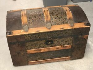 Antique Round Top Travel Chest from Kansas Family $247.50