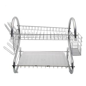 2-Tier Stainless Kitchen Dish Drying Rack Holder Sink Drainer Dryer Strainer NEW