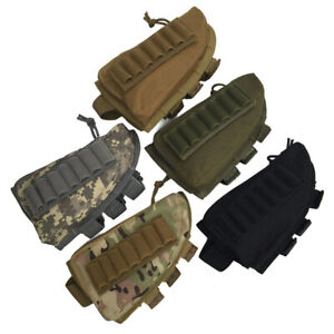 Tactical Nylon Buttstock Shell with Zippered Pouch Bullet Bag Cartridge Holder