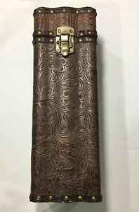 Wooden Leather Tooled Wine Box Drink Wine Bottle Holder Brown Rich Rare Unique
