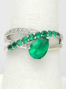 10k WHITE GOLD 2.25ct PEAR CUT ROUND EMERALD & DIAMOND CROSS OVER BAND RING