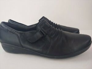 CLARKS Soft Cushion Black Slip On Flats Loafers Comfort Walking Shoes 12 Wide