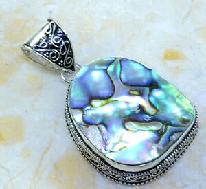 ABALONE SHELL ANTIQUE DESIGN PENDANT 2 1/4