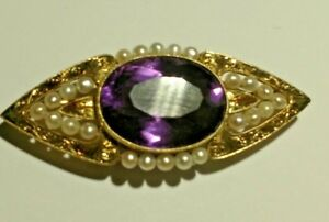 AMAZING PIN 47x20 Engraved 14kt Gold w Seed Pearls & 20x15 MM Amethyst Stunner !