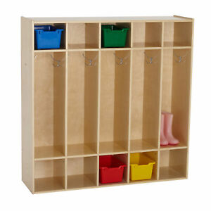 ECR4Kids Toddler 5 Section Coat Locker with Cubbies - Birch Classroom Furniture