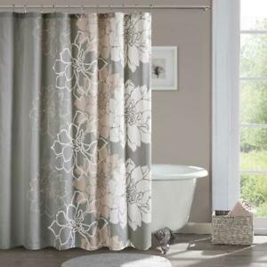 100% Cotton Sateen Floral Printed Shower Curtain Machine Washable 72