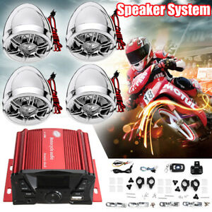 bluetooth 4 Speakers Stereo Audio Radio Amplifier System LCD For Motorcycle ATV