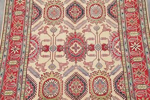 IVORY 6'x10' Super Kazak Oriental Area Rug Geometric Hand-Knotted Carpet WOOL
