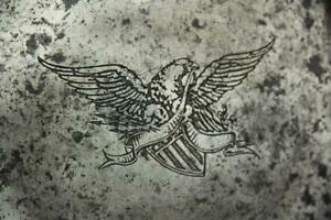 VERY RARE 18TH C AMERICAN PEWTER PLATE WITH ENGRAVED HERALDIC EAGLE