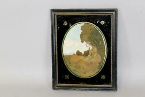 EXTREMELY RARE 18TH C NEEDLEWORK - STUMPWORK & PAINTED PICTURE OF YOUNG WOMAN